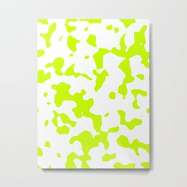 Large Spots - White and Fluorescent Yellow Metal Print