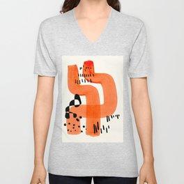 Fun Abstract Minimalist Mid Century Modern Orange Brush Strokes Watercolor Black Pattern Unisex V-Neck