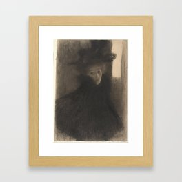 Portrait of a Lady with Cape and Hat Framed Art Print