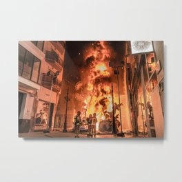 Firemen and fire Metal Print