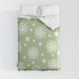 Mid Century Modern Sun and Star Pattern Sage Green Comforters