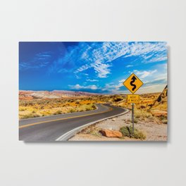 Road Sign for Curves in Desert Metal Print