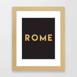 ROME ITALY GOLD CITY TYPOGRAPHY Framed Art Print