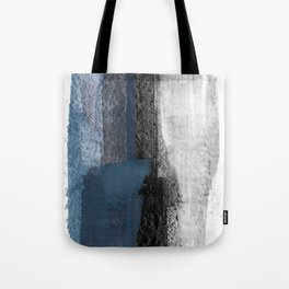 Blue and Black Abstract Painting Tote Bag