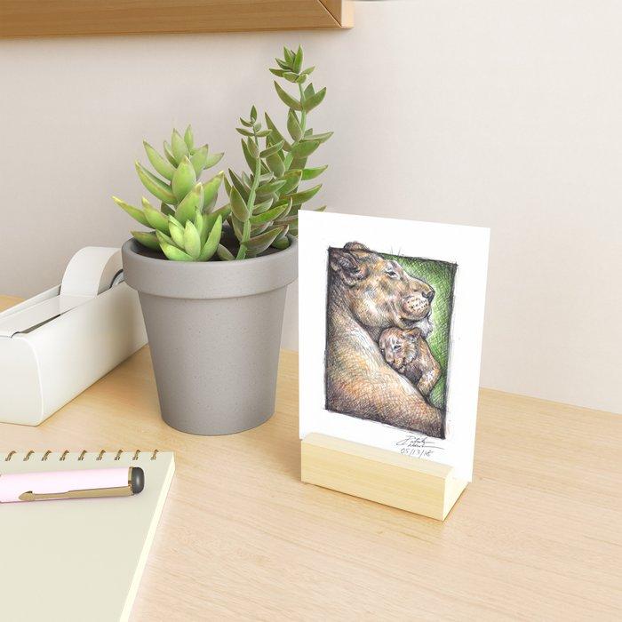 Lioness and Cub Mini Art Print