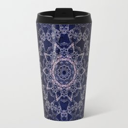 Glowing Nirvana Mandala On Deep Blue Textured Background Travel Mug