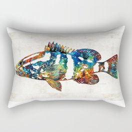 Colorful Grouper 2 Art Fish by Sharon Cummings Rectangular Pillow