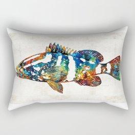 Colorful Grouper 2 Art Fish by Sharon Cummings Rectangular Pillow