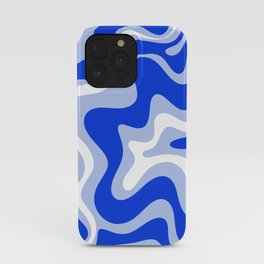 Retro Liquid Swirl Abstract Pattern Royal Blue, Light Blue, and White  iPhone Case