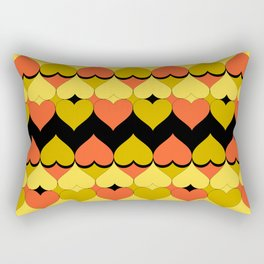 Multi Hearts Chartreuse Tangerine Black Rectangular Pillow