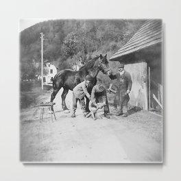 Blacksmith at work Metal Print