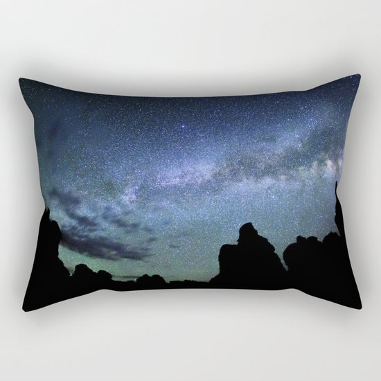 Milky Way Mountains Silhouette Rectangular Pillow