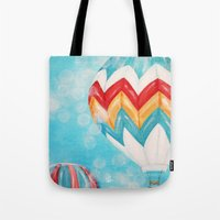 hot air balloons Tote Bags featuring Hot Air Balloons #3 by Music of the Heart