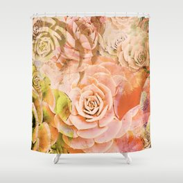 Hen and Chicks Succulents in Red and Pink Shower Curtain