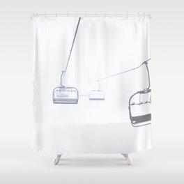 B&W Skilift Poster Shower Curtain