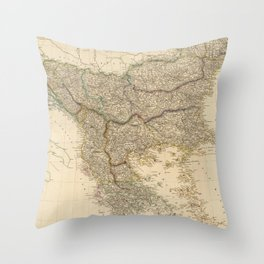 Vintage Map of The Balkans (1832) Throw Pillow