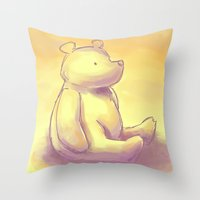 pooh Throw Pillows featuring Pooh Bear by Jennifer Kathryn Lee