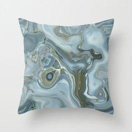 Precious Teal Blue Gemstone Agate Collage Throw Pillow