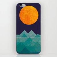 wave iPhone & iPod Skins featuring The ocean, the sea, the wave - night scene by Picomodi