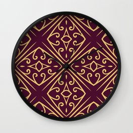 Decorative Floral Pattern 7 - Loulou Purple Red, Old Gold Wall Clock