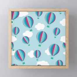 Hot air balloons and clouds - blue and pink Framed Mini Art Print