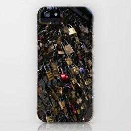 Love padlocks on Pont des Arts, Paris iPhone Case