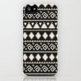 Vintage white black geometrical aztec tribal iPhone Case