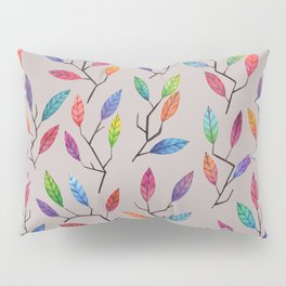 Leafy Twigs - Multicolored on Gray Pillow Sham