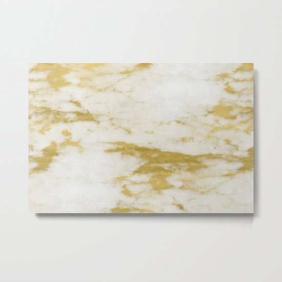 Marble - Shimmery Gold Marble and White Metal Print