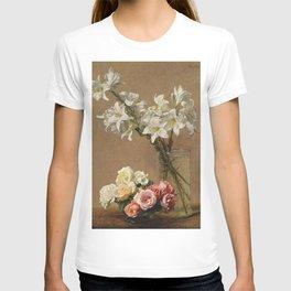 Henri Fantin-Latour - Roses And Lilies T-shirt