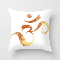 om Throw Pillows featuring OM by Alexandra Doerge