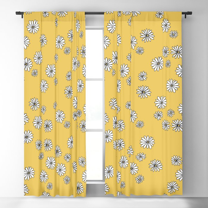 Daisy Garden Sweet S Baby Nursery Pattern Ochre Yellow Blackout Curtain By Littlesmilemakersstudio