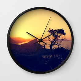 sunrise in mountains Wall Clock