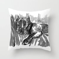 hercules Throw Pillows featuring Hercules 2 by Jenn Steffey