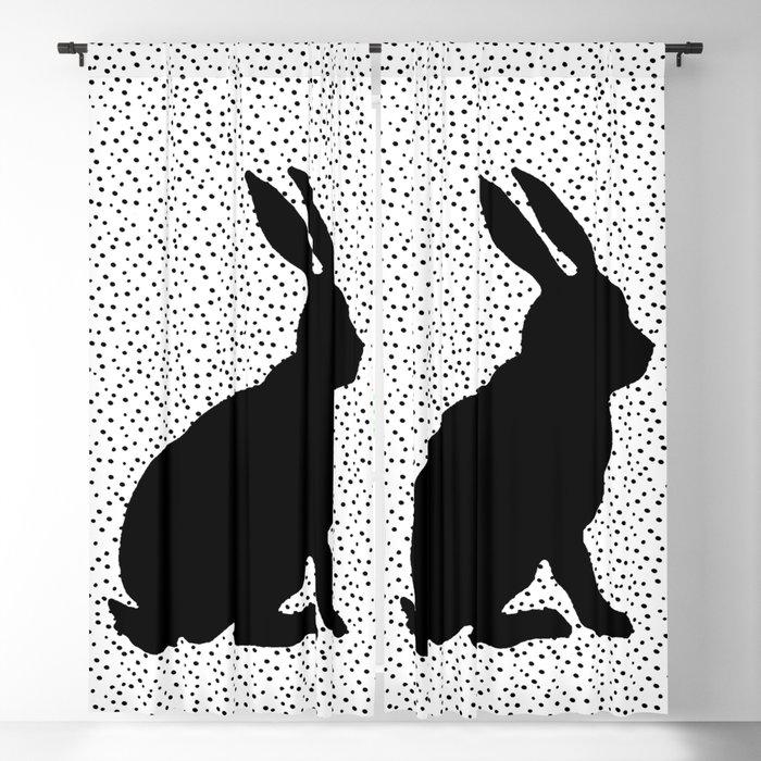 Black Silhouette Sitting Bunny Rabbit Polka Dots on White Blackout Curtain