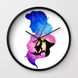 Jasmine Watercolor Double Exposure Aladdin Wall Clock
