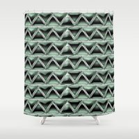 malachite Shower Curtains featuring Malachite Triangles by naturessol