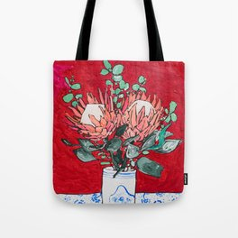 Delft Bird Vase of Proteas on Red Tote Bag