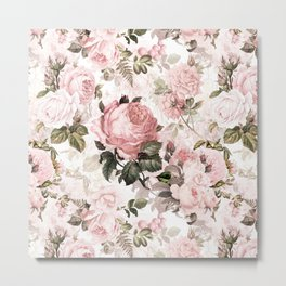 Vintage & Shabby Chic - Sepia Pink Roses  Metal Print