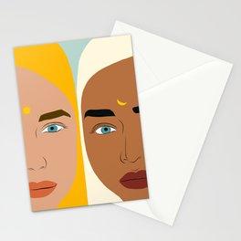Day & Night, Sun & Moon Friendship Illustration, Nature Bohemian Woman Empower Portrait Stationery Cards