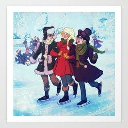 Enjolras, Combeferre and Courfeyrac Ice Skating Art Print