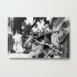 Wheel Stand - Freestyle Motocross Stunt Metal Print