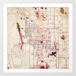 Fort Collins map Colorado Art Print