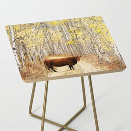 Cow in aspens Side Table