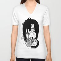 sasuke V-neck T-shirts featuring Sasuke and Itachi - Naruto by SEANLAR94