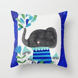elephant with raindrops in blue watercolor illustration Throw Pillow