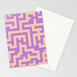 Deep Peach Orange and Lavender Violet Labyrinth Stationery Cards