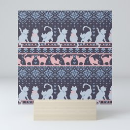 Fair Isle Knitting Cats Love // purple white and pink kitties Mini Art Print