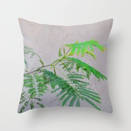 Silk Tree Leaves #2 with Poem Throw Pillow