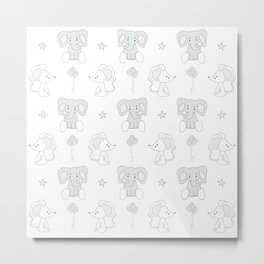 Elephant and Mouse Metal Print